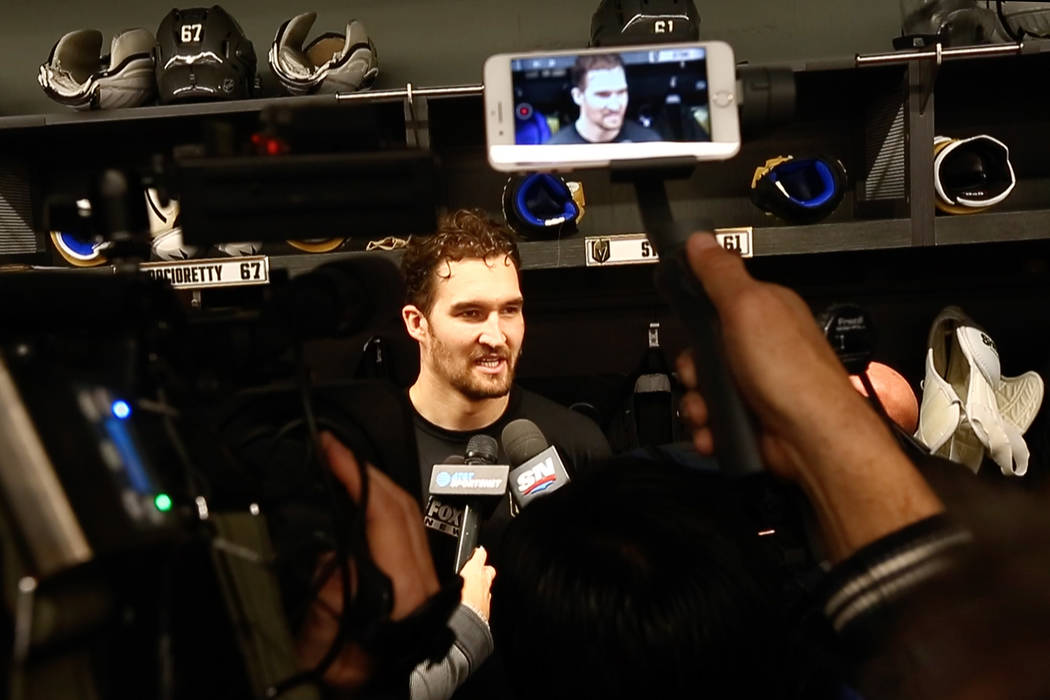 Newly acquired Golden Knights forward Mark Stone is interviewed in the locker room at City National Arena in Las Vegas on Tuesday, Feb. 26, 2019. (Chase Stevens/Las Vegas Review-Journal) @cssteven ...
