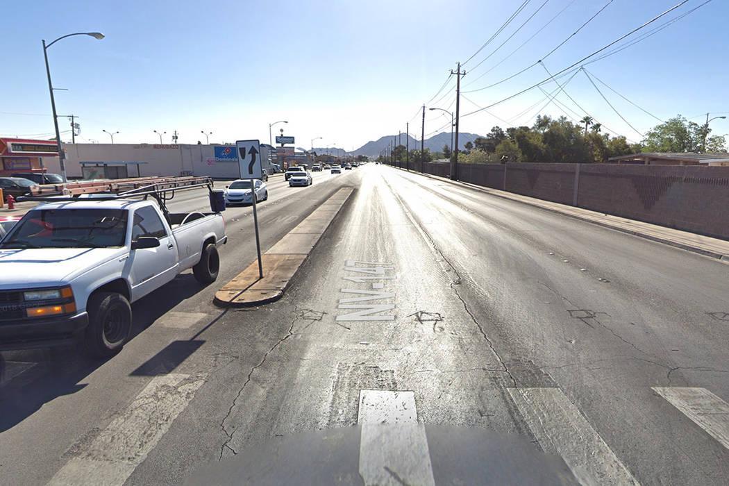 East Lake Mead Boulevard, east of Belmont Street, in North Las Vegas. Google Street View image.