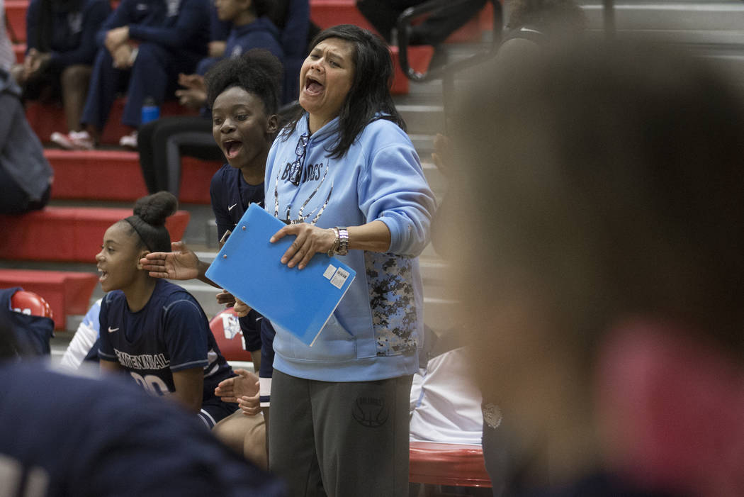 The Centennial bench erupts after a big play in the fourth quarter during the Bulldogs game with Bishop Gorman during the Southern Nevada girls basketball championship game on Monday, Feb. 25, 201 ...