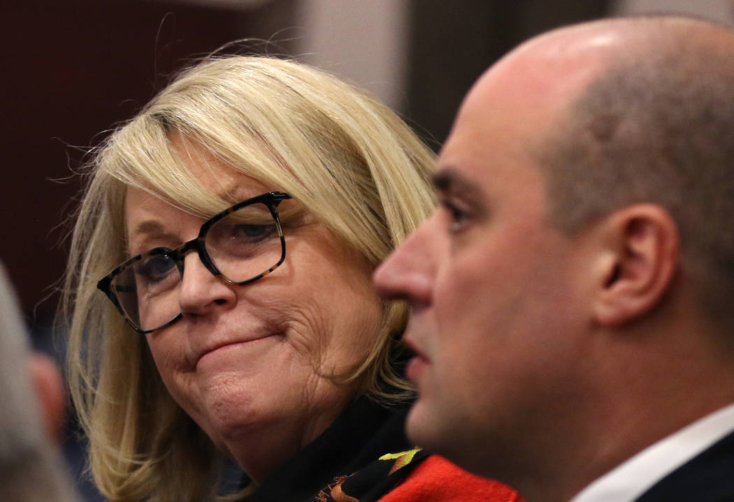 Ellen Whittemore, EVP, counsel at Wynn Resorts, left, and Matt Maddox, CEO of Wynn Resorts Ltd., attend a meeting of the Nevada Gaming Commission on Tuesday, Feb. 26, 2019, in Las Vegas. Bizuayehu ...