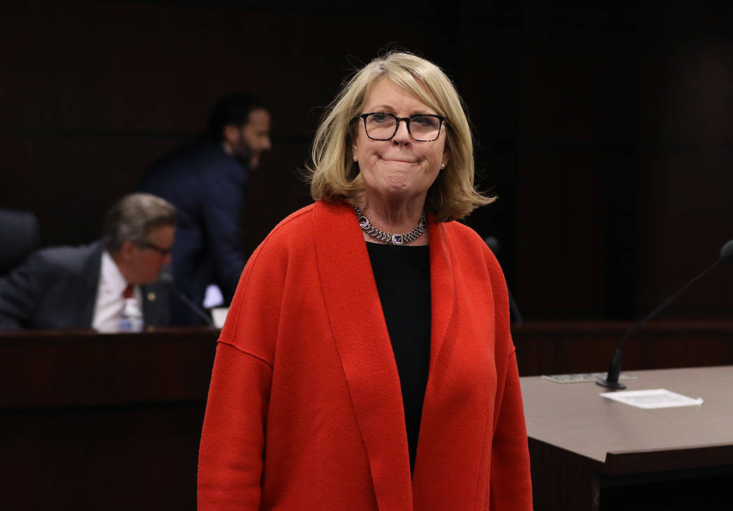 Ellen Whittemore, EVP, counsel at Wynn Resorts, returns to her seat during a meeting of the Nevada Gaming Commission on Tuesday, Feb. 26, 2019, in Las Vegas. Bizuayehu Tesfaye Las Vegas Review-Jou ...