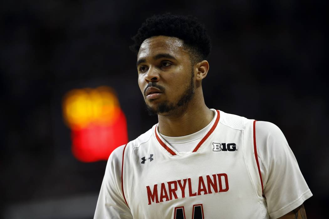 Maryland guard Jared Nickens walks on the court in the second half of an NCAA college basketball game against Michigan State in College Park, Md. on Sunday, Jan. 28, 2018. (AP Photo/Patrick Semansky)
