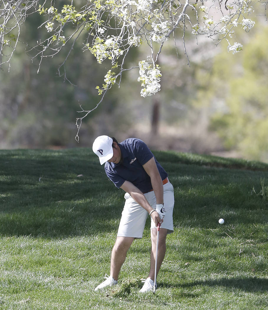 Pepperdine's Roy Cootes hits from out of a greenside bunker during the Southern Highlands Collegiate Masters Golf Tournament on Wednesday, March 8, 2017, in Las Vegas. (Bizuayehu Tesfaye/Las Vegas ...