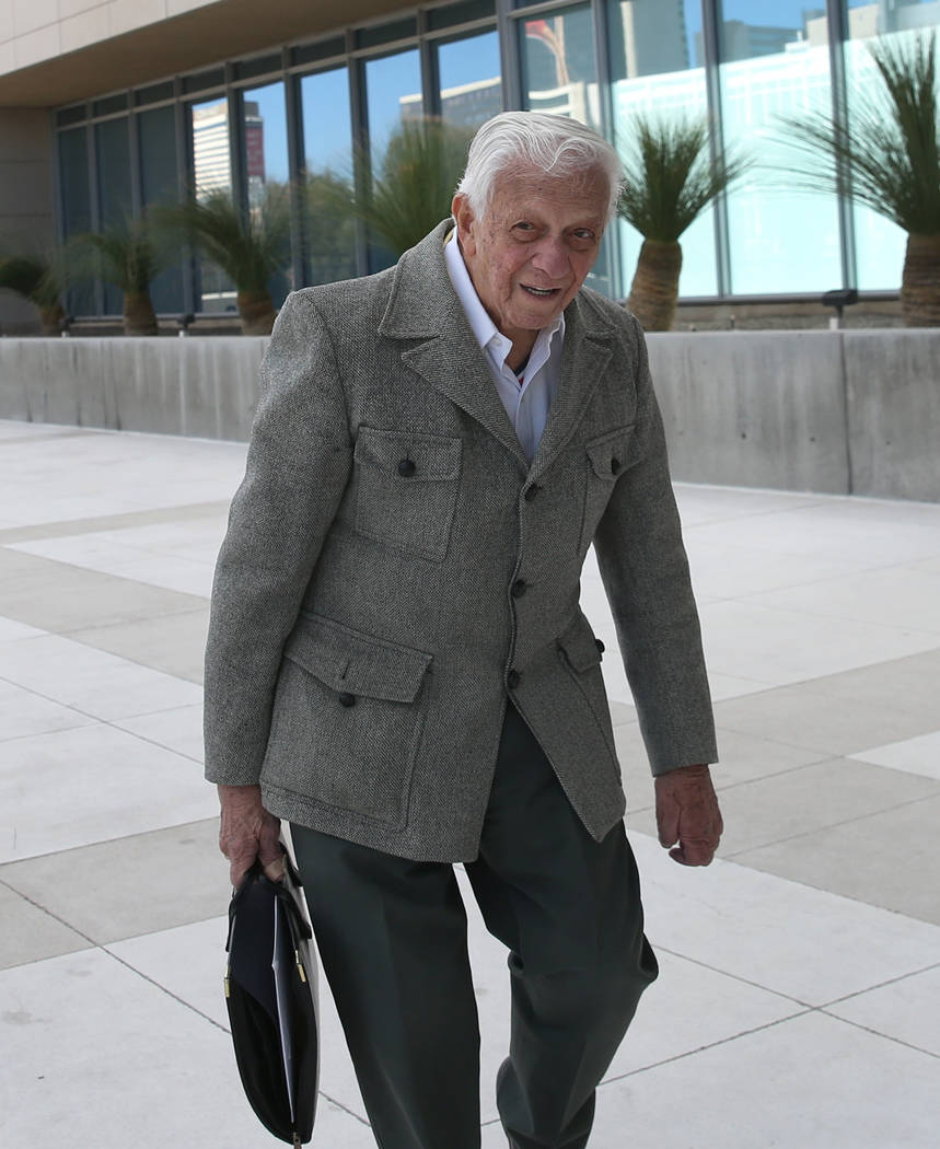 Dr. S. Jay Hazan, 94, a World War II Army veteran, arrives at the Lloyd George U.S. Courthouse house for his arraignment on Tuesday, Feb. 26, 2019, in Las Vegas. Hazan was arrested in November aft ...