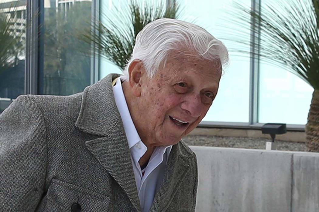 Dr. S. Jay Hazan, 94, a World War II Army veteran, arrives at the Lloyd George U.S. Courthouse house for his arraignment on Tuesday, Feb. 26, 2019, in Las Vegas. Hazan was arrested in December aft ...