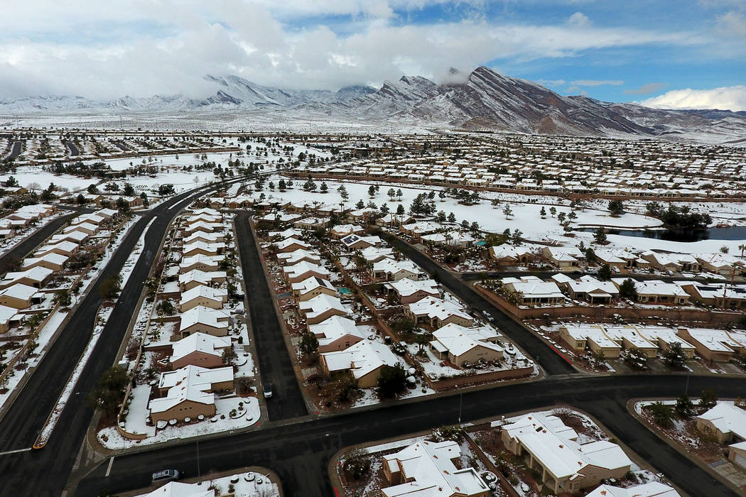 Aerial photo of Summerlin homes after a winter storm dropped a blanket of snow on the west Las Vegas Valley on Thursday, February 21, 2019. (Michael Quine/Las Vegas Review-Journal) @Vegas88s