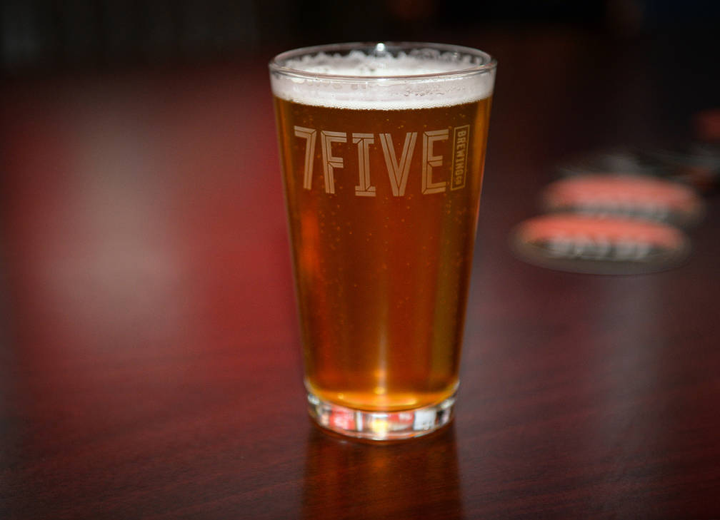 A glass of Ryan Reaves' new beer, Training Day, sits on a table at a party for the release of the beer at PKWY Tavern Flamingo in Las Vegas, Thursday, Dec. 27, 2018. Caroline Brehman/Las Vegas Rev ...
