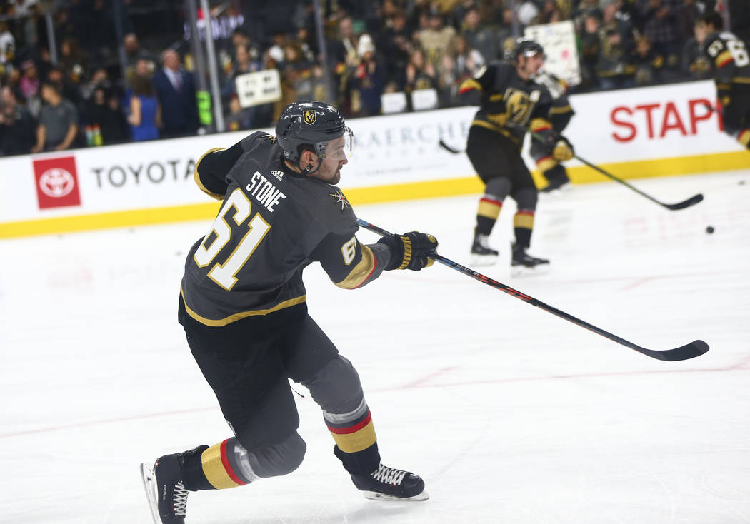 Golden Knights right wing Mark Stone (61) warms up before playing the Dallas Stars in an NHL hockey game at T-Mobile Arena in Las Vegas on Tuesday, Feb. 26, 2019. (Chase Stevens/Las Vegas Review-J ...