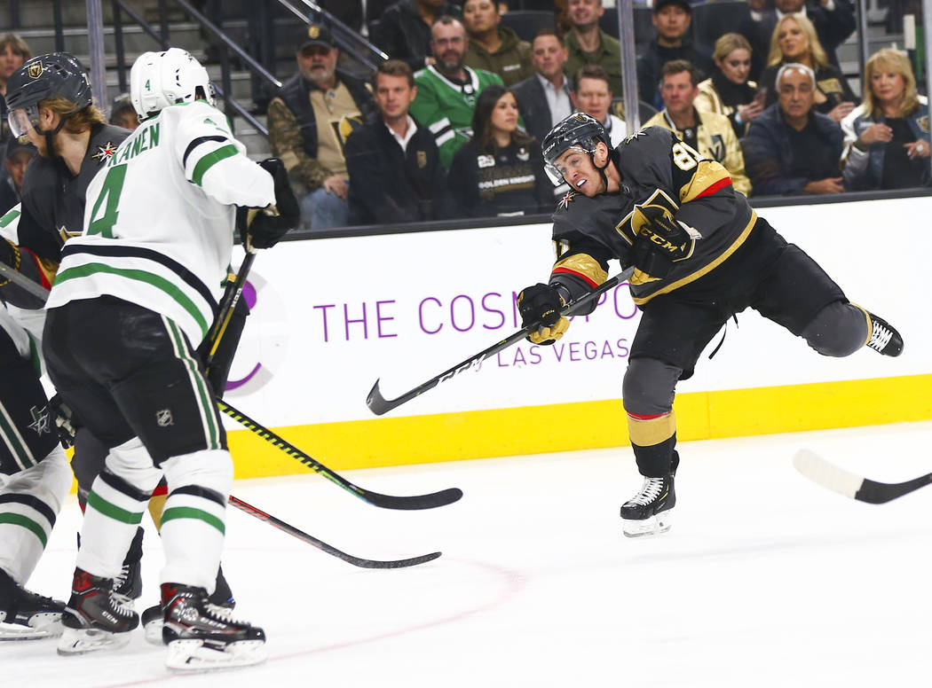 Golden Knights center Jonathan Marchessault (81) shoots against the Dallas Stars during the first period of an NHL hockey game at T-Mobile Arena in Las Vegas on Tuesday, Feb. 26, 2019. (Chase Stev ...