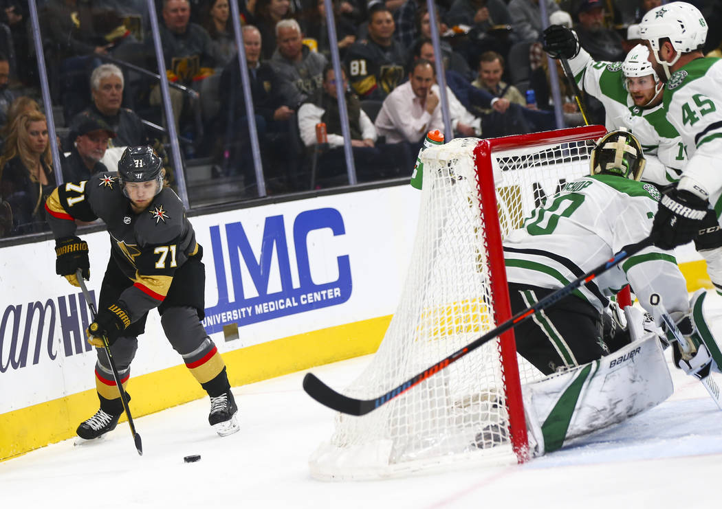 Golden Knights center William Karlsson (71) moves the puck around while looking to shoot against the Dallas Stars during the first period of an NHL hockey game at T-Mobile Arena in Las Vegas on Tu ...