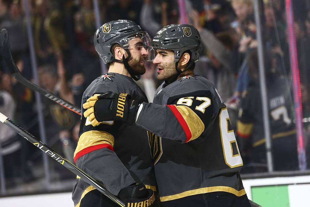 Golden Knights left wing Max Pacioretty (67) celebrates his goal with right wing Alex Tuch during the second period of an NHL hockey game against the Dallas Stars at T-Mobile Arena in Las Vegas on ...