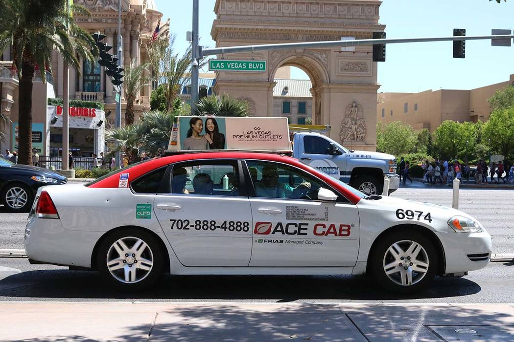 An Ace Cab driver turning into the drop off area at Bellagio in Las Vegas, Thursday, April 20, 2017 (Las Vegas Review-Journal file)