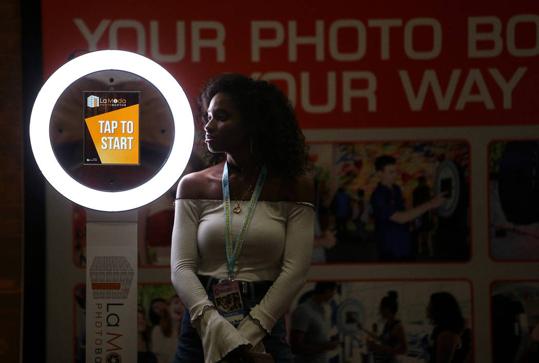 Kymberly Whitehall stands at the La Moda Photo Booth stand at the Photo Booth Expo at the South Point Hotel and Casino in Las Vegas, Tuesday, Feb. 26, 2019. (Caroline Brehman/Las Vegas Review-Jour ...