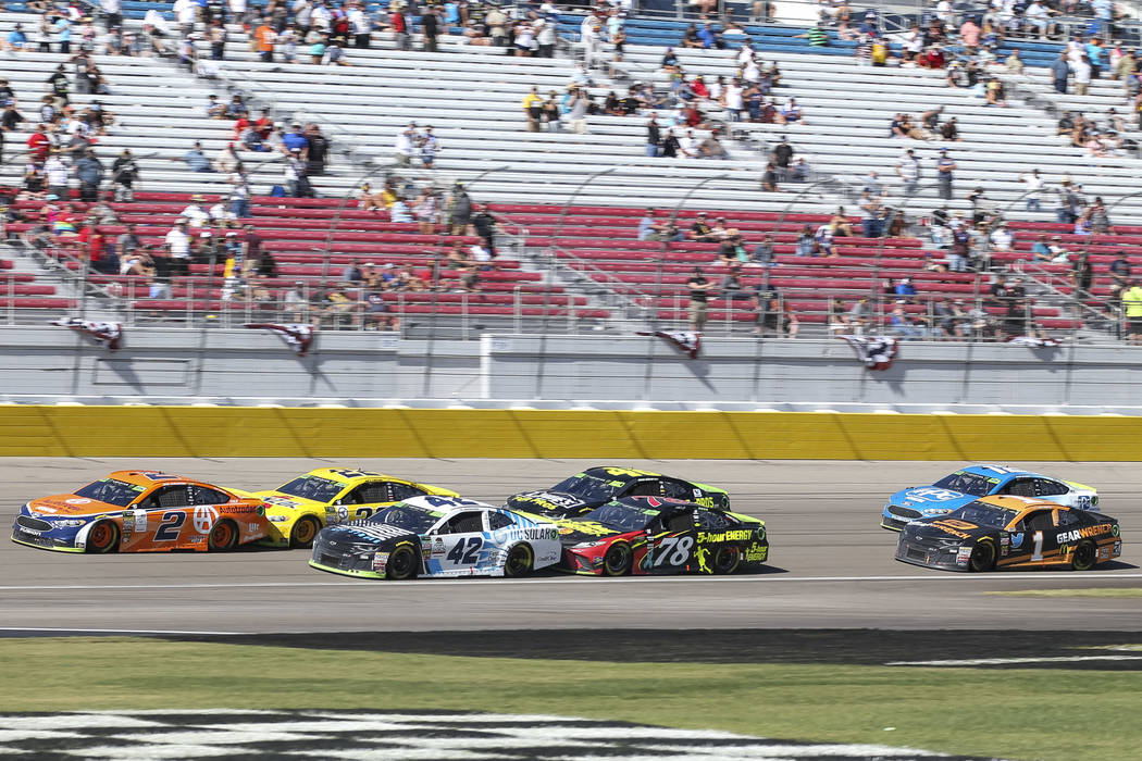 Drivers competes in the South Point 400 NASCAR Cup Series auto race at the Las Vegas Motor Speedway in Las Vegas on Sunday, Sept. 16, 2018. (Richard Brian/Las Vegas Review-Journal)