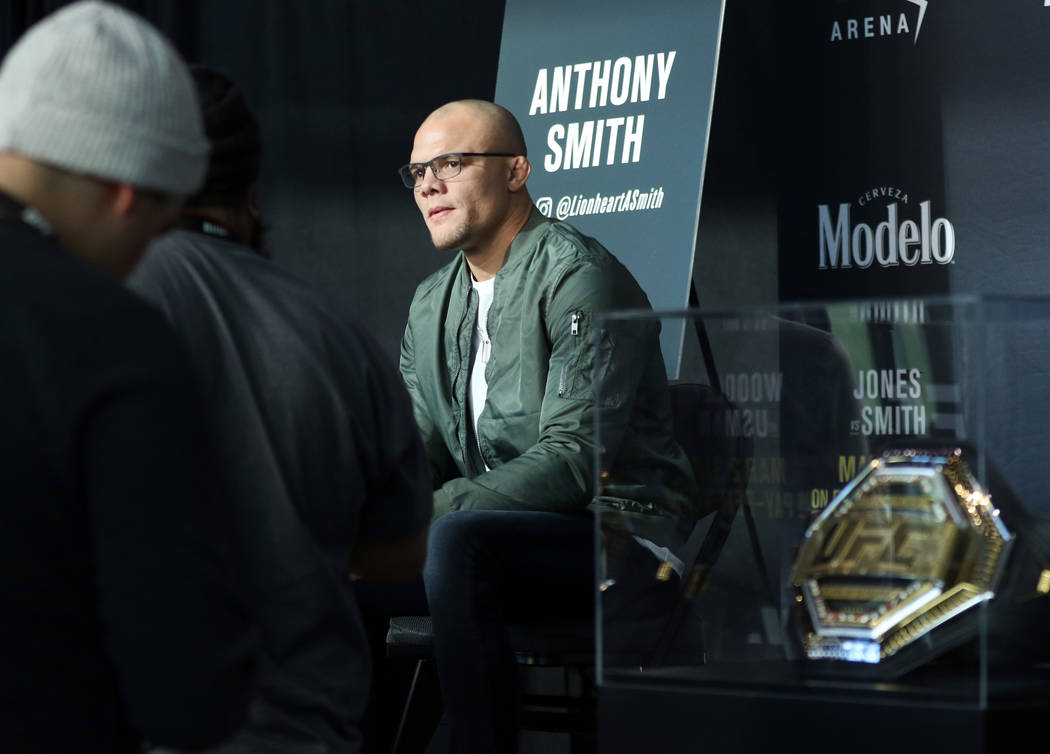UFC light heavyweight title contender Anthony Smith is interviewed by reporters during UFC 235 media day at the T-Mobile Arena in Las Vegas, Wednesday, Feb. 27, 2019. He will face the division's c ...