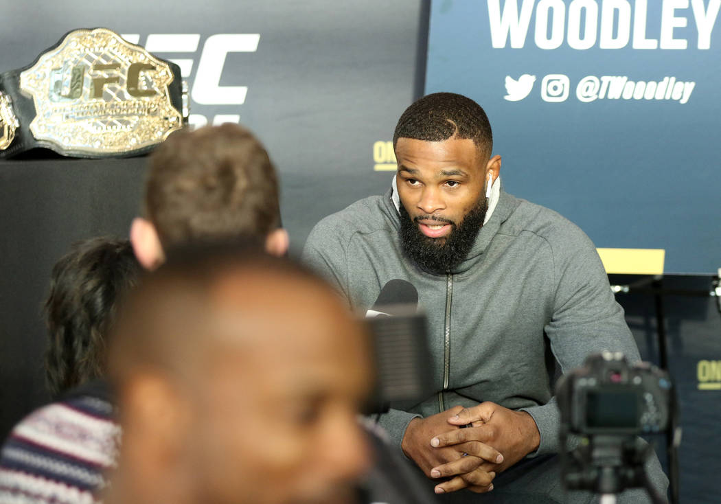 UFC welterweight champion Tyron Woodley answers questions from reporters at UFC 235 media day at the T-Mobile Arena in Las Vegas, Wednesday, Feb. 27, 2019. (Heidi Fang /Las Vegas Review-Journal) @ ...