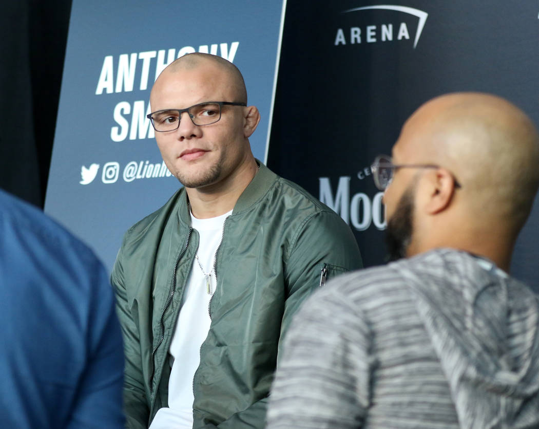 UFC light heavyweight Anthony Smith listens to a reporter's questions during UFC 235 media day at the T-Mobile Arena in Las Vegas, Wednesday, Feb. 27, 2019. (Heidi Fang /Las Vegas Review-Journal) ...