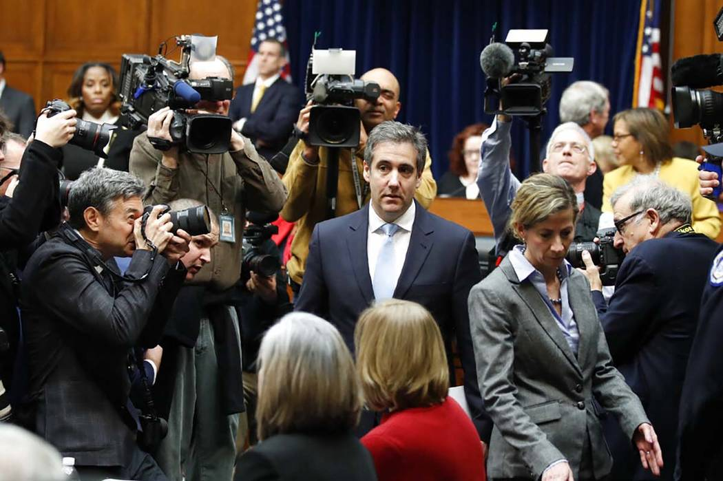 Michael Cohen, President Donald Trump's former personal lawyer, arrives to testify before the House Oversight and Reform Committee on Capitol Hill, Wednesday, Feb. 27, 2019, in Washington. (Alex B ...