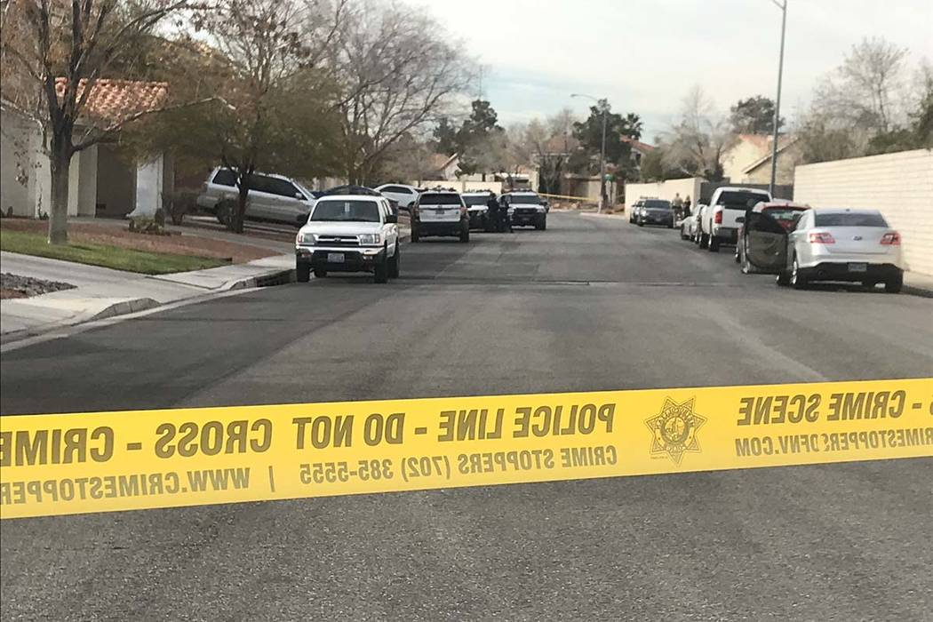 Police investigate the death of a 2-year-old child in the 8600 block of Manalang Road in southeast Las Vegas, Monday, Feb. 25, 2019. (Lukas Eggens/Las Vegas Review-Journal