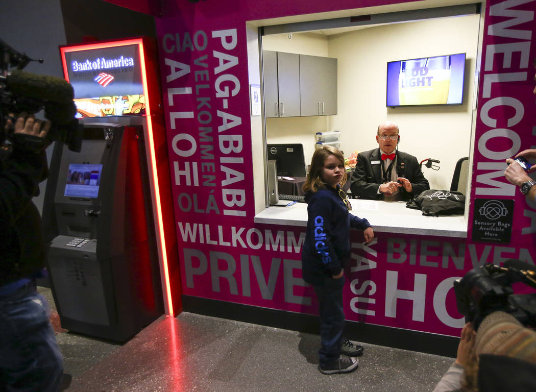 Christian Mouer, 11, visits guest services to pick up a sensory bag before a Golden Knights game at T-Mobile Arena in Las Vegas on Tuesday, Feb. 26, 2019. The sensory bag features noise-cancelling ...