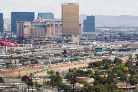 Interstate 15 near Charleston Boulevard is seen from the World Market Center in Las Vegas on Wednesday, June 10, 2015. A public meeting is slated for today about Project Neon, the freeway widening ...