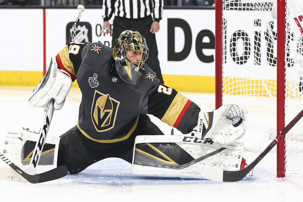 7d2ddcd3a3c Golden Knights goaltender Marc-Andre Fleury (29) blocks a shot from  Washington Capitals