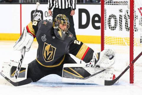 Golden Knights goaltender Marc-Andre Fleury (29) blocks a shot from Washington Capitals center Evgeny Kuznetsov, not pictured, during the second period of Game 5 of the Stanley Cup Final at T-Mobi ...