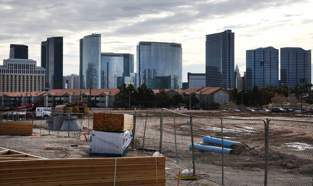 The mixed-use project under construction at Flamingo Road and Valley View Boulevard, next to the Palms photographed on Wednesday, Feb. 27, 2019, in Las Vegas. Bizuayehu Tesfaye Las Vegas Review-Jo ...