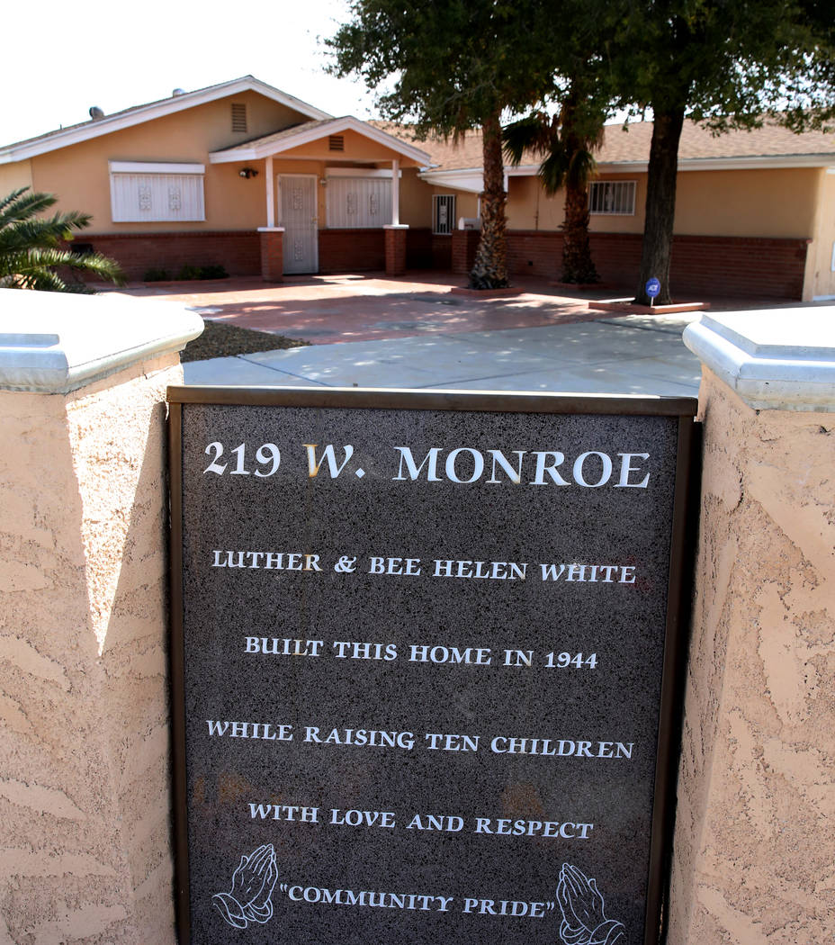 Lee White's house on West Monroe Avenue is seen on Monday, Feb. 25, 2019, in Las Vegas. White, a former New York Jets player, was born and raised in this house. Bizuayehu Tesfaye Las Vegas Review- ...