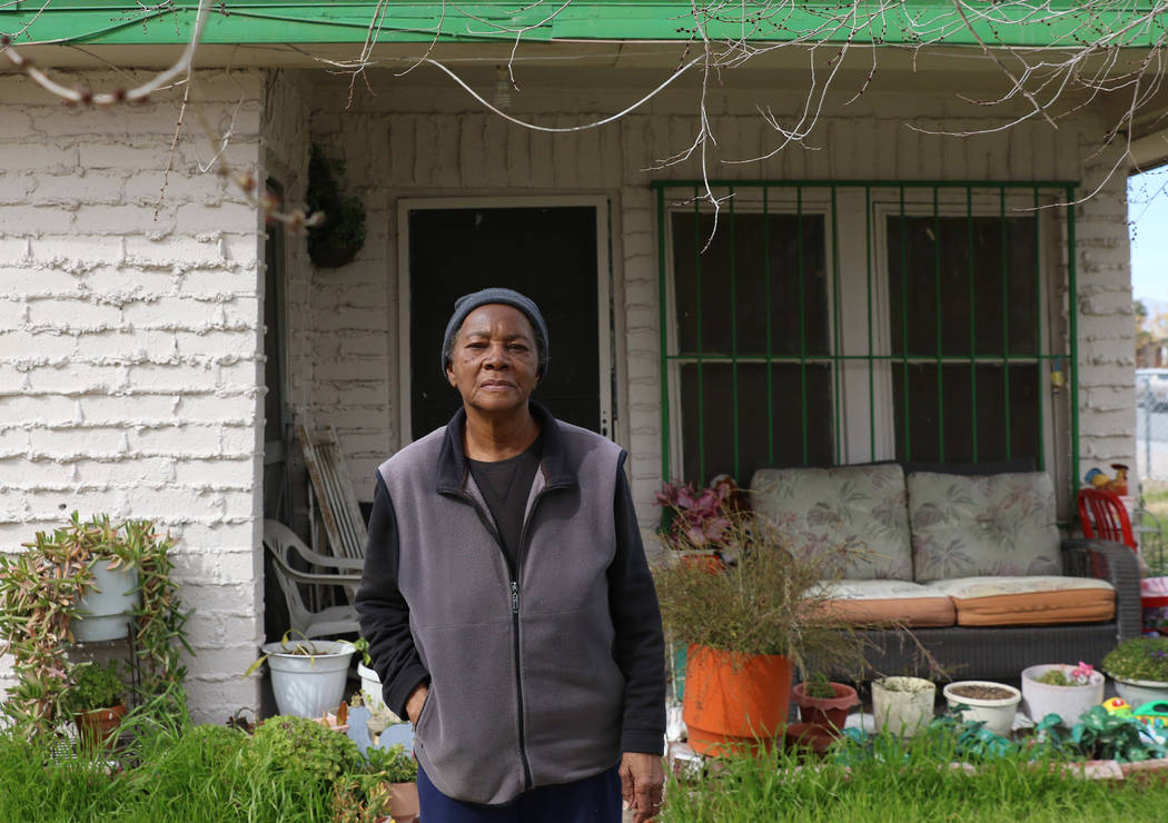 Longtime resident of Historic Westside Ora Bland, 85, poses for a photo in front of her house where she lived for 60 years at the corner of F Street and Williams Avenue on Monday, Feb. 25, 2019, i ...