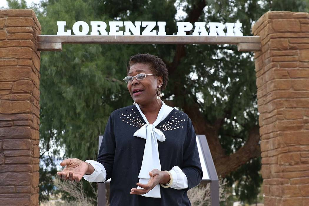 Katherine Duncan, executive director of the Harrison House, speaks while leading a tour of Pioner Trail, near Lorenzi Park, on Monday, Feb. 25, 2019, in Las Vegas. Bizuayehu Tesfaye Las Vegas Revi ...