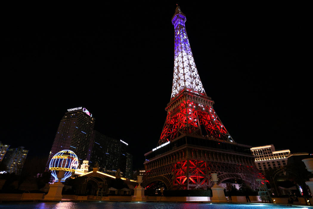 The Paris Las Vegas debuts a new $1.7 million Eiffel Tower light show on the Strip in Las Vegas, Wednesday, Feb. 27, 2019. (Caroline Brehman/Las Vegas Review-Journal) @carolinebrehman