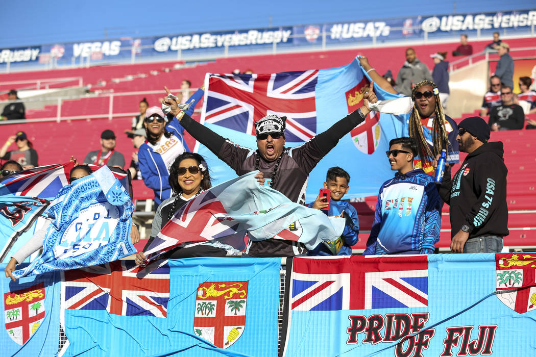 Fiji fans cheer on their team as they play Russia during day one of the USA Sevens Rugby tournament at Sam Boyd Stadium in Las Vegas on Friday, March 2, 2018. Richard Brian Las Vegas Review-Journa ...