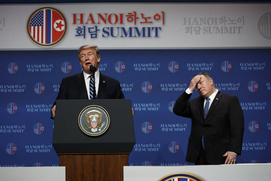 President Donald Trump speaks as Sec of State Mike Pompeo looks on during a news conference after a summit with North Korean leader Kim Jong Un, Thursday, Feb. 28, 2019, in Hanoi. (Evan Vucci/AP)