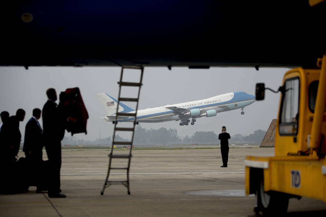 Air Force One with President Donald Trump aboard takes off at Nom Bar International Airport in Hanoi, Vietnam, Thursday, Feb. 28, 2019, to travel to Washington. (Andrew Harnik/AP, Pool)