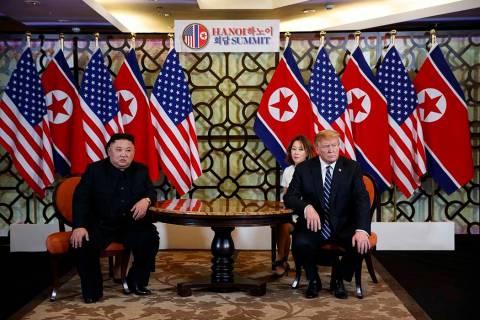 President Donald Trump meets North Korean leader Kim Jong Un, Thursday, Feb. 28, 2019, in Hanoi. (Evan Vucci/AP)