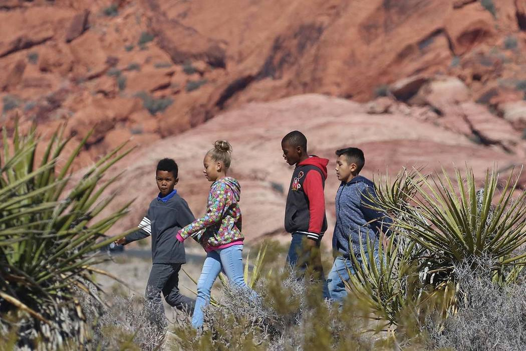 Elaine Wynn Elementary School students walk the trail during a field trip in Red Rock Canyon on Wednesday, Feb. 27, 2019, in Las Vegas. (Bizuayehu Tesfaye/Las Vegas Review-Journal) @bizutesfaye
