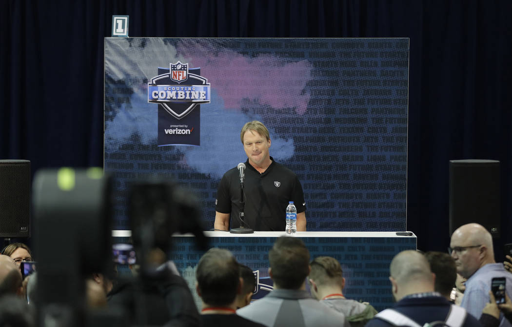 Oakland Raiders head coach Jon Gruden speaks during a press conference at the NFL football scouting combine, Thursday, Feb. 28, 2019, in Indianapolis. (AP Photo/Darron Cummings)