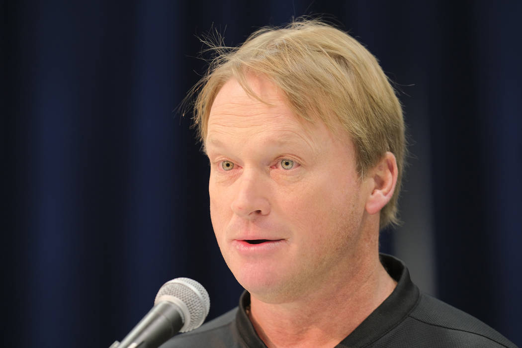 Oakland Raiders head coach Jon Gruden speaks during a press conference at the NFL football scouting combine in Indianapolis, Thursday, Feb. 28, 2019. Purdue won 73-56. (AP Photo/AJ Mast)