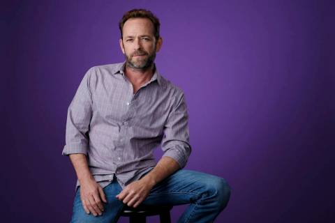 "Luke Perry, a cast member in the CW series ""Riverdale,"" poses for a portrait during the 2018 Television Critics Association Summer Press Tour, Monday, Aug. 6, 2018, in Beverly Hills, Cal ..."