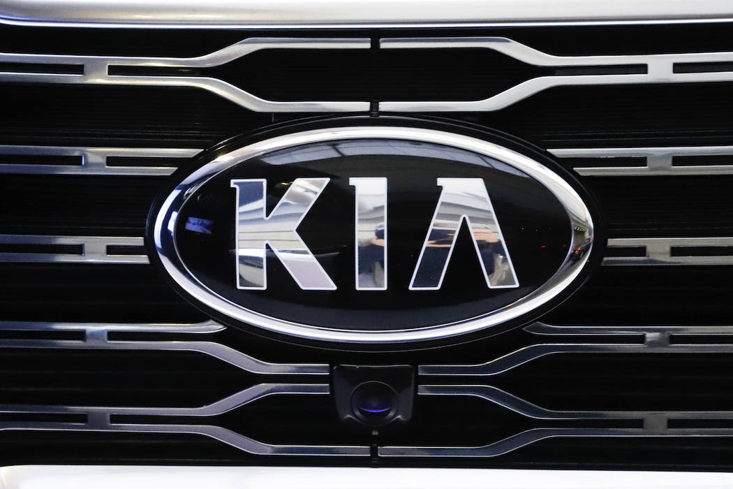 This is the KIA logo on the grill of a 2020 KIA Telluride on display on a sign at the 2019 Pittsburgh International Auto Show in Pittsburgh Thursday, Feb. 14, 2019. (AP Photo/Gene J. Puskar)