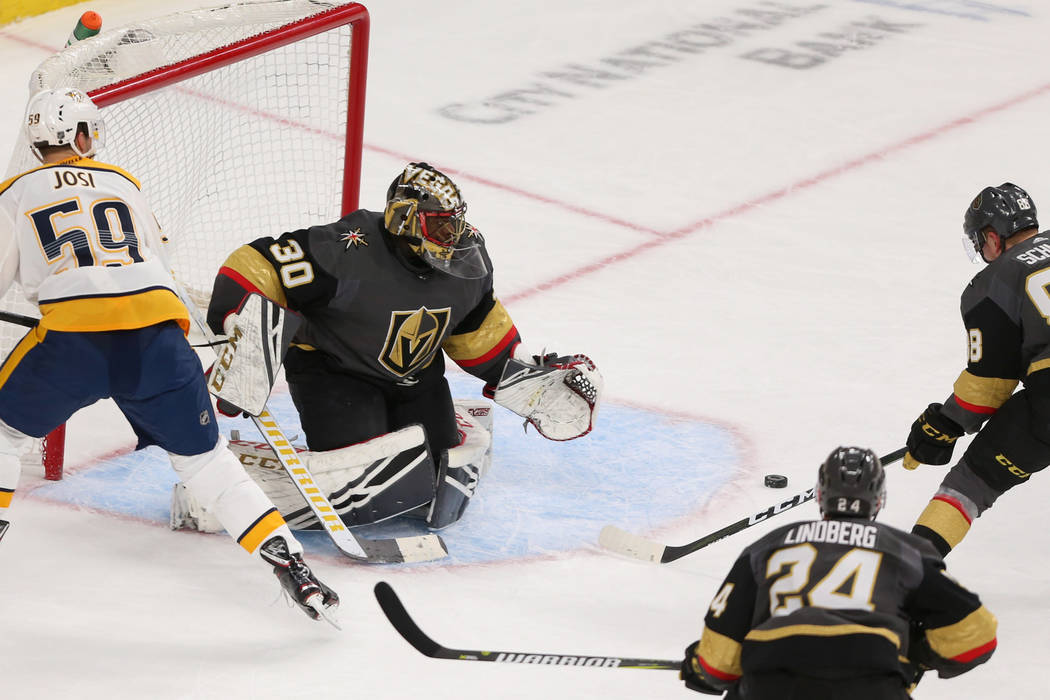 Vegas Golden Knights goaltender Malcolm Subban (30) defends against the Nashville Predators during the second period of an NHL hockey game at T-Mobile Arena in Las Vegas, Saturday, Feb. 16, 2019. ...
