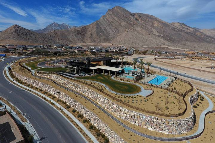 An aerial photo of the 16,000 square foot indoor/outdoor Clubhouse and recreation center that sits at the center of the Reverence community by Pulte Homes in Summerlin, Nevada on Tuesday, February ...