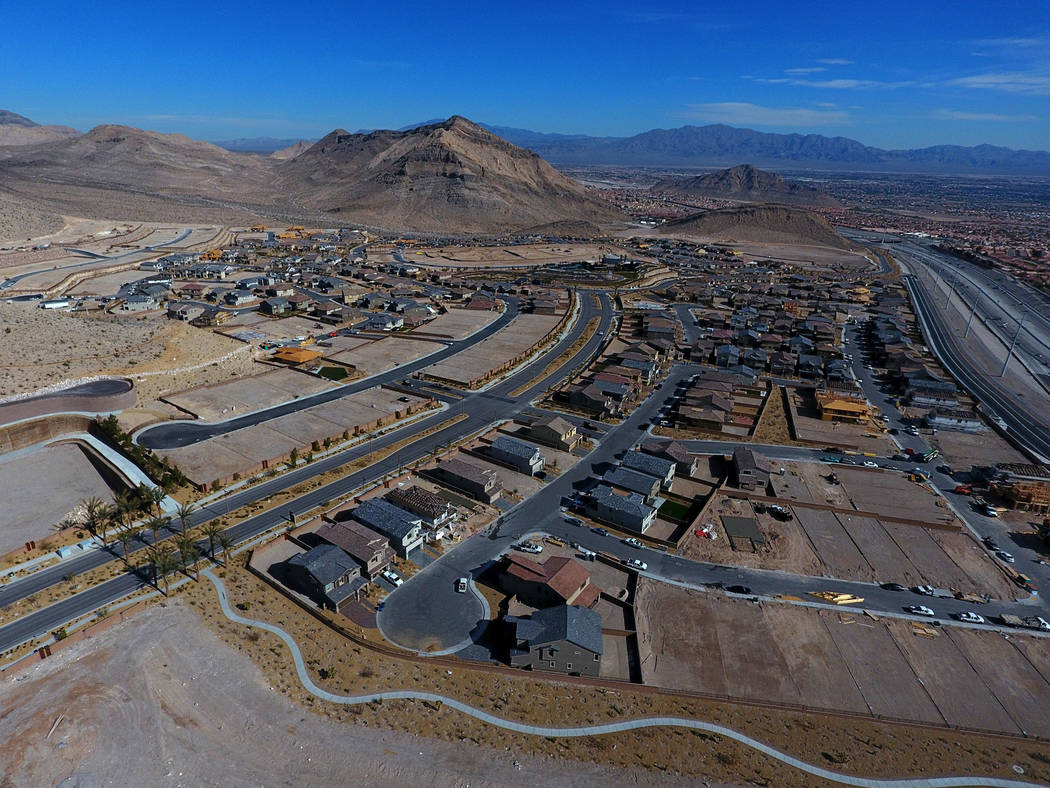 Aerial photo of the Reverence community by Pulte Homes in Summerlin, Nevada on Tuesday, February 26, 2019. (Michael Quine/Las Vegas Review-Journal) @Vegas88s