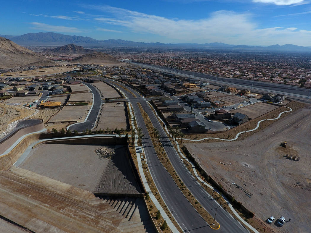 An aerial photo of the Reverence community by Pulte Homes overlooks Summerlin and the Las Vegas Valley on Tuesday, February 26, 2019. (Michael Quine/Las Vegas Review-Journal) @Vegas88s