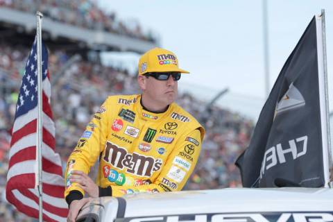 Kyle Busch during driver introductions before the NASCAR Daytona 500 auto race at Daytona International Speedway, Sunday, Feb. 17, 2019, in Daytona Beach, Fla. (AP Photo/John Raoux)