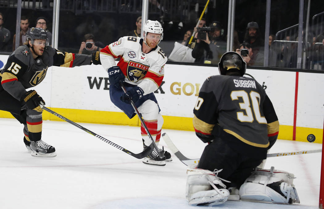 Florida Panthers defenseman Mike Matheson (19) shoots against Vegas Golden Knights goaltender Malcolm Subban (30) during the first period of an NHL hockey game Thursday, Feb. 28, 2019, in Las Vega ...