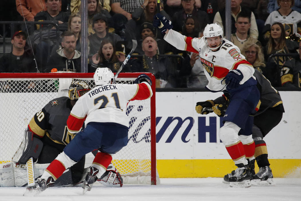 Florida Panthers center Aleksander Barkov (16) celebrates after scoring against Vegas Golden Knights goaltender Malcolm Subban (30) during the second period of an NHL hockey game Thursday, Feb. 28 ...