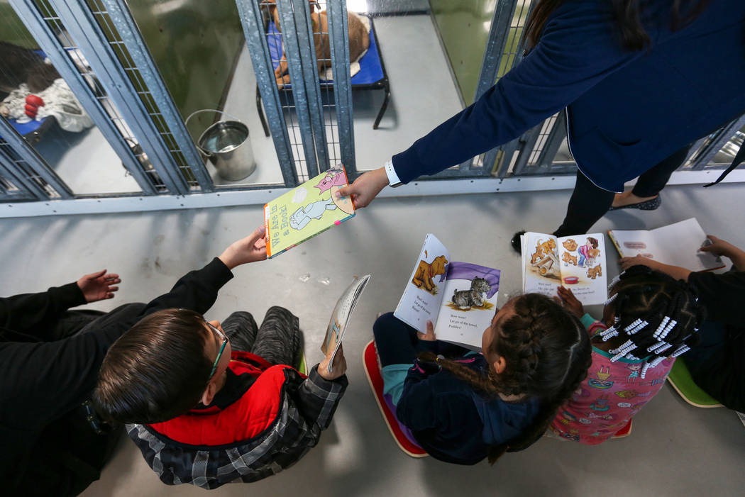 CCSD first graders participate in the 4th Annual ÔReading to Dogs in KennelsÕ event at The Animal Foundation during Nevada Reading Week in Las Vegas, Thursday, Feb. 28, 2019. (Caroline B ...