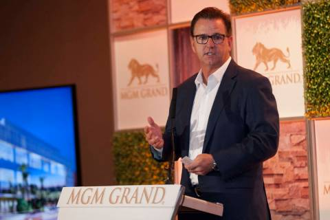 Scott Sibella, president and chief operating officer at the MGM Grand, speaks before the ground breaking for the MGM Grand Convention Center expansion project on Tuesday, June 20, 2017. Patrick C ...